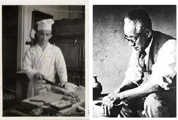 川喜多半泥子氏(写真右)の一言で、東洋軒の初代 猪俣重勝氏(写真左)が苦労の末に「ブラックカレー」を開発。