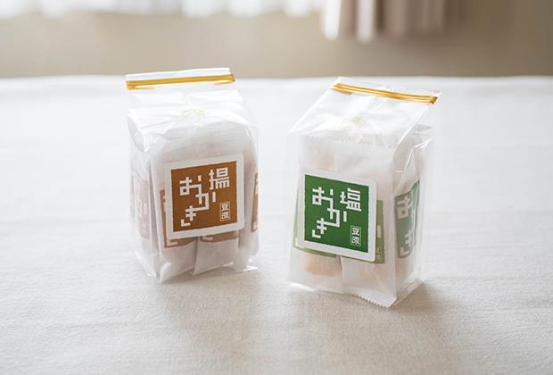 創業約150年の老舗・豆源さんの『塩おかき、揚げおかき』