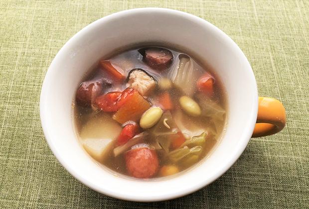 アレンジレシピ【ひたし豆入り野菜スープ】