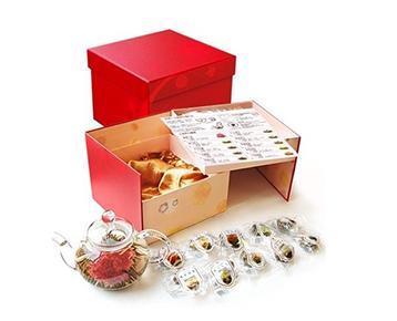 母の日ギフト【優雅セット】カーネーション工芸茶10種とティーポット / 中国茶専門店リムテー