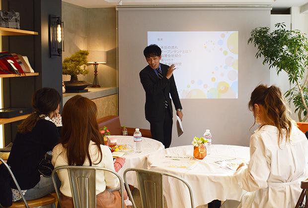 イベント担当の濱沖さんが詳しくオープンサンドを説明