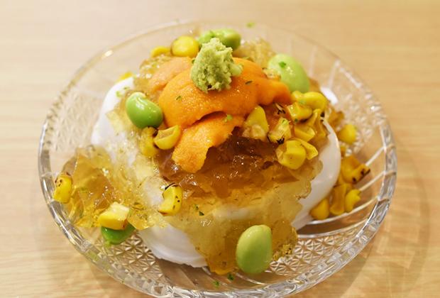 高野山で弘法大師空海への生身供にも使われる老舗「角濱ごまとうふ総本舗」さんのごま豆腐にウニを加えてよりクリーミーに