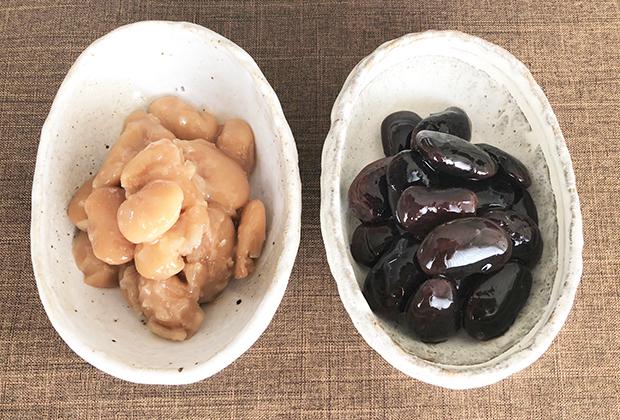 ツヤッツヤの紫花豆の田舎煮は、皮もしっかり感じるかたさで、甘さは控えめ、塩味がきいています