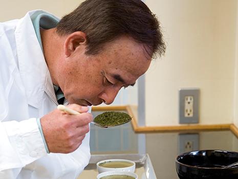 茎や粉の選別に至るまで、熟練の職人の長年の経験と勘によって丹念に仕上げる