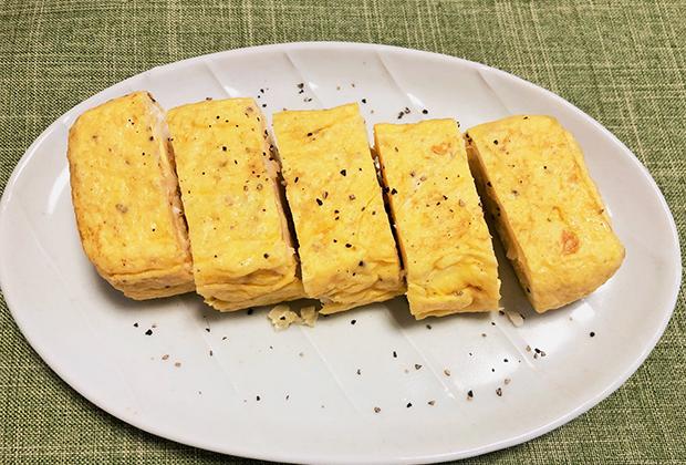 ●アレンジレシピ【「梨フルーツらっきょうディップ(わさび入りタルタルソース)」入りふわふわ卵焼き】