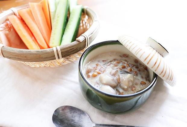 「金山寺味噌」を活用したレシピ『豆乳クリームディップ』