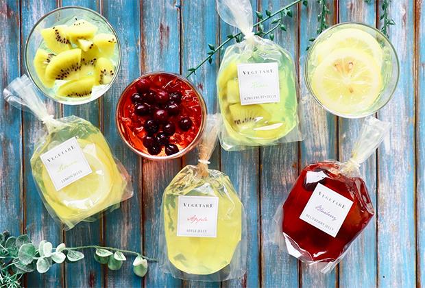 国産のフルーツや野菜を贈り物に仕立てたベジギフトを提供するブランド、VEGETARE(ベジターレ)の「国産生フルーツゼリー」