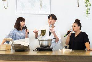 有名和食店のオーナーシェフ笠原さんを招いてのおだし道場では、昆布とかつお節から美味しい出汁をとる方法をご紹介。