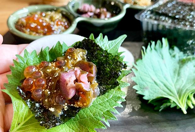 『三陸海宝漬』の旨味に、大根のシャキシャキ感、しそと韓国海苔の香り+薬味の風味が、良いバランス過ぎて、ちょっと飲み過ぎますよー。